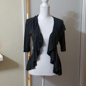 Express Design Studio Gray Ruffled Light Sweater